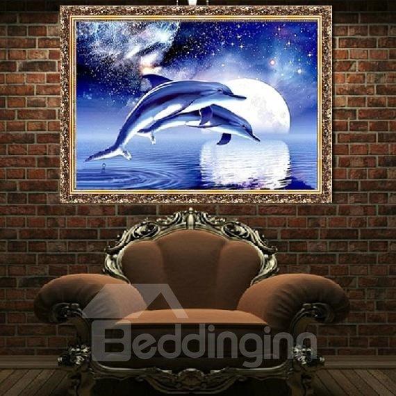 Dolphin and Stars 1-Piece DIY Diamond Sticker