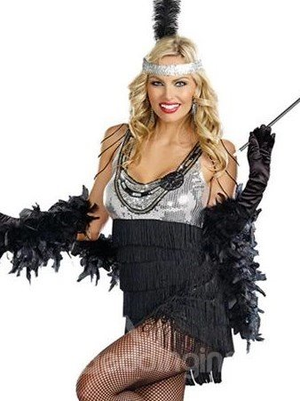 Sexy Seguin Bust Tassel Dress And Feather Shawl Costume