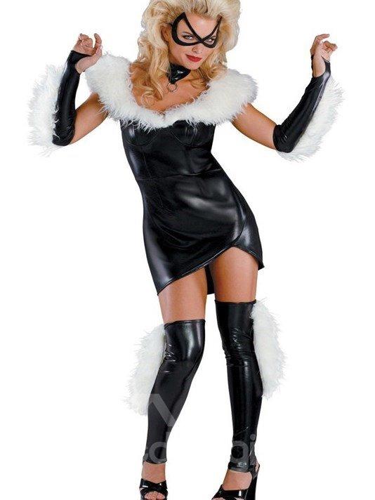 Sexy Catwomen Fuzzy Neckline PU Costume