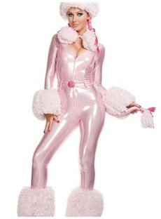 Cute Pink Poodle Deep V Bust Shiny Costume