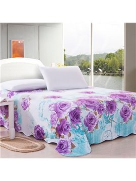 Purple Blooming Flowers on Cotton Printed Sheet