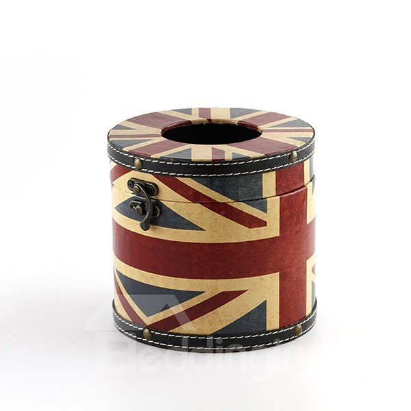 Unique the Union Jack Print Round Tissue Box