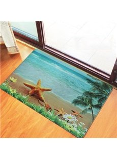 Wonderful Starfish and Seaside Scenery Pattern Non-Woven Fabric 3D Doormat