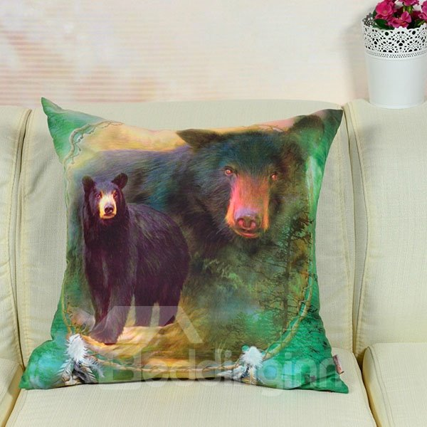 New Arrival Strong Black Bear Printed Throw Pillow