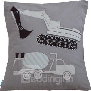 Lovely Cartoon Crane Printed Applique Embroider Throw Pillow