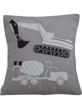 Lovely Cartoon Crane Printed Applique Embroider Throw Pillow