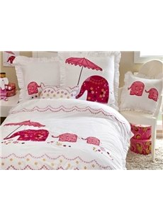 Pink Elephant with Umbrella 3-Piece Cotton Duvet Cover Sets