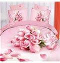 Pink Rose Bouquet Print 4-Piece Cotton Duvet Cover Sets