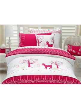 Flower Tree and Deer Print 3-Piece Cotton Duvet Cover Sets