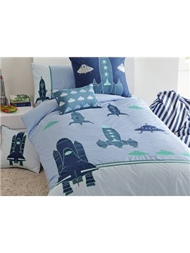 Cartoon Rocket Applique 3-Piece Cotton Duvet Cover Sets
