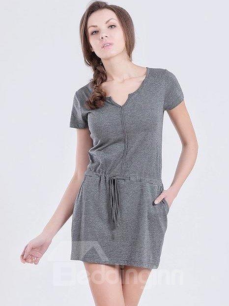 Solid Color Open V Neckline Convenient Pockets Sleepshirt
