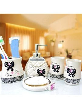 Fashionable Novel Bowknot Lace Print 5-piece Bathroom Accessories