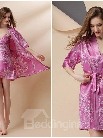 Beautiful Floral Pattern Artificial Silk  Chemise And Robe Set