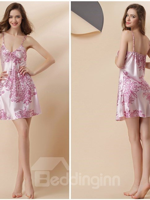 Light Pink With Beautiful Flower Artificial Silk  Chemise And Robe Set