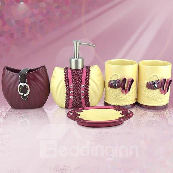 European Fashion High Heel Bag Print 5-piece Bathroom Accessories