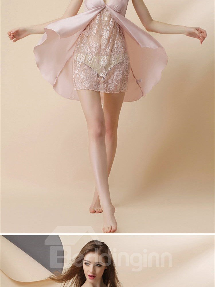 Lace Layered Open Ruffle Front Artificial Silk Chemise