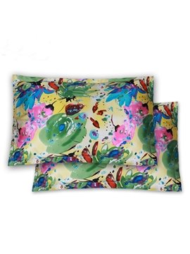 Enjoyable Oil Painting Pattern Mulberry Silk Pillowcases