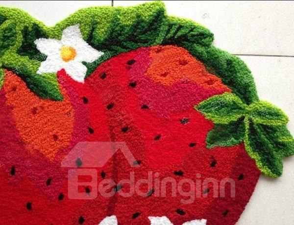 Tasty Vivid Strawberry Shape Anti-slip Comfy Bath Rug