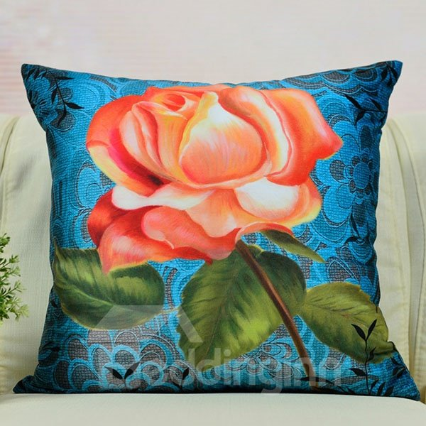 High Quality One Flower Printed Throw Pillow