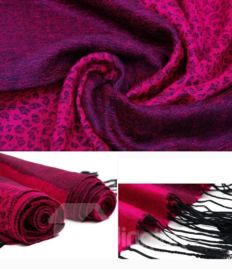 Beautiful Tassel Ends Leopard Pattern Cotton Long Scarf