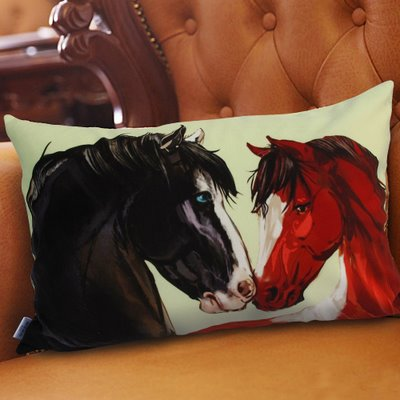 Creative Black and Akhal-Teke Horses Printed Pillowcase