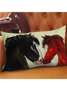 Creative Black and Akhal-Teke Horses Printed Pillowcase
