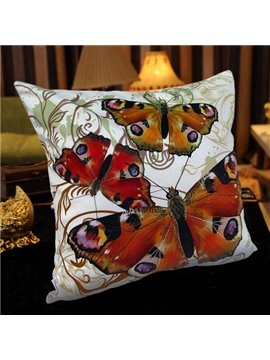 European Style Butterflies Printed Colorful Pillowcase