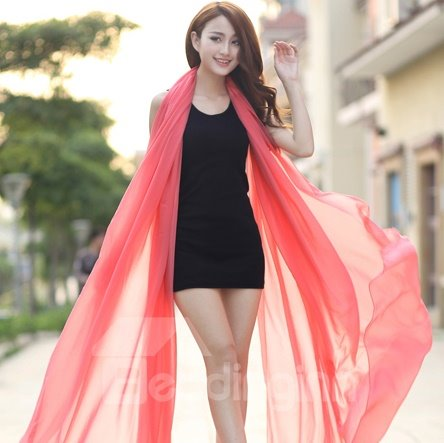 Beautiful Chiffon Light Pink Huge Long Shawl Scarf