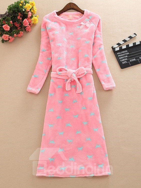 Comfy Belted Animal Pattern Round Neck Long Sleeves Nightgown
