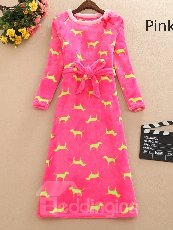 Solid Color Little Puppy Print Plus Size Belted Nightgown