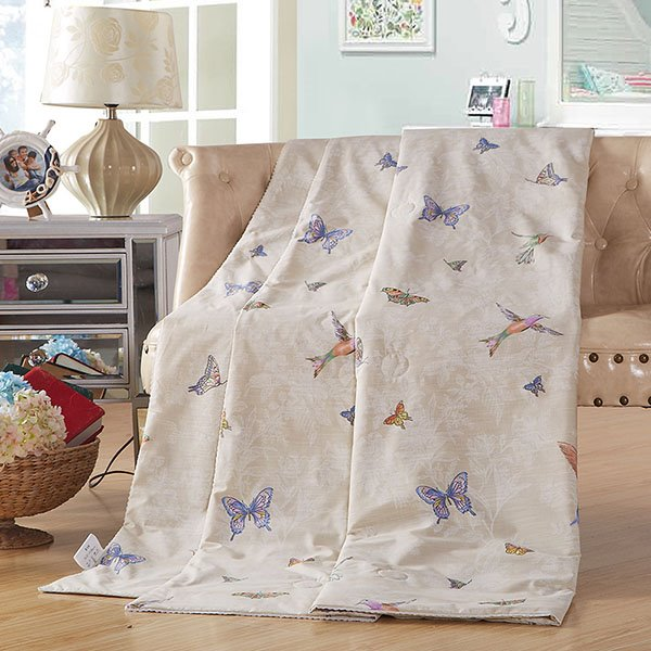 Bird and Butterfly Printed Cotton Air-Conditional Quilt