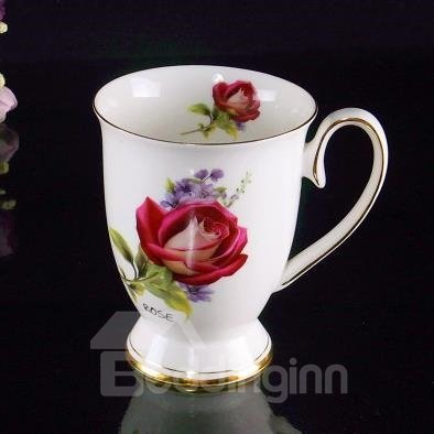 Popular Bone China Romantic Roses Creative Mug