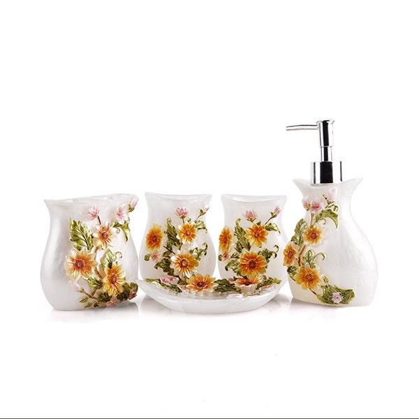fancy blooming sunflower resin 5-piece bathroom accessories
