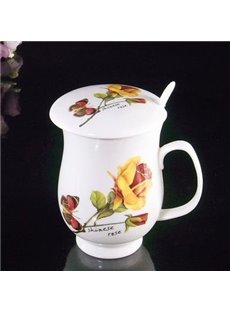 Wonderful Butterfly and Flowers Coffee Mug with Lid