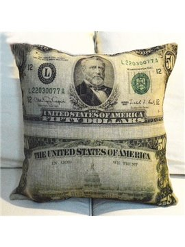 Creative American Dollar Style Linen Throw Pillow