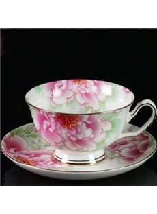 Elegant Flower Bone China European Coffee Mug