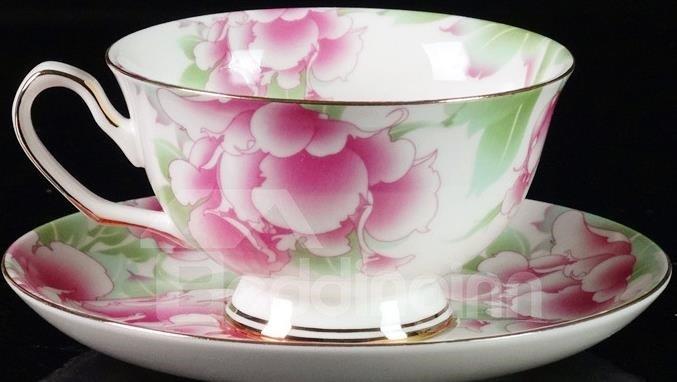 Elegant Flower Bone China European Coffee Mug