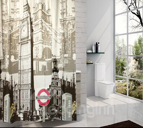 High Grade Landmark Print PEVA Shower Curtain