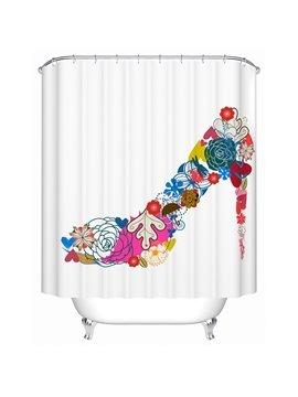 Romantic Colorful Flower Print High Heel Shape Shower Curtain