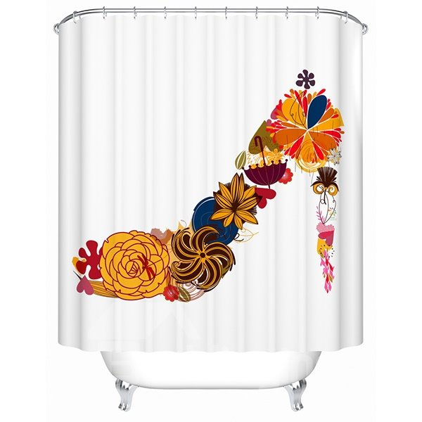 Creative Unique Flower High Heel Print Shower Curtain