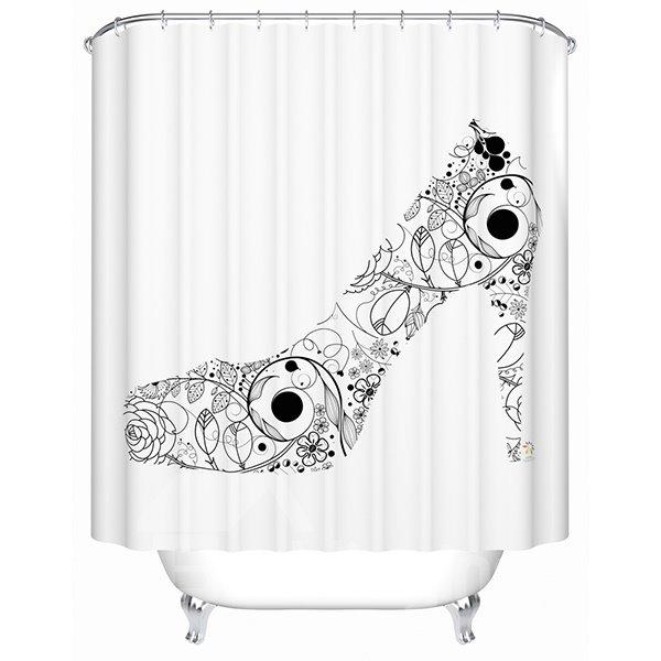Graceful Black Flower High Heel Design Shower Curtain