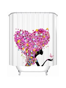 Stylish Romantic Flower Heart Shape Beautiful Girl Shower Curtain