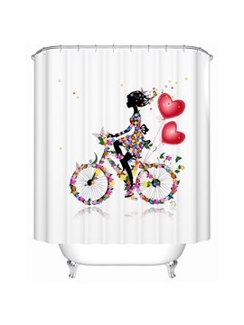 Aesthetic Bicycling Floral Girl Polyester Shower Curtain