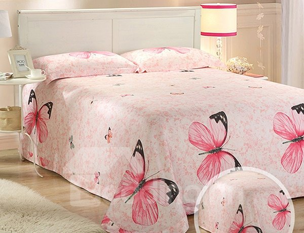 Reversible Colorful Butterfly Printed Lyocell 4-Piece Pink Duvet Covers/Bedding Sets