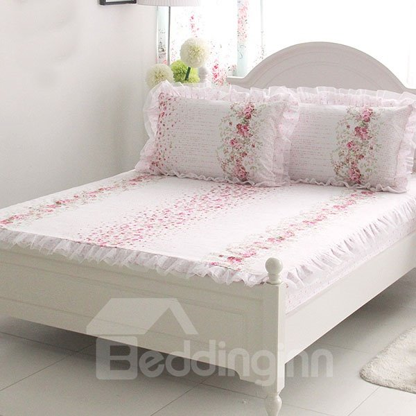 Cinderella Series Beautiful Flowers Printed Lace Corner Cotton Fitted Sheet