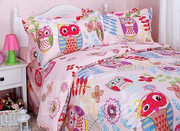 Owl and Flower Print 3-Piece Cotton Duvet Cover Sets