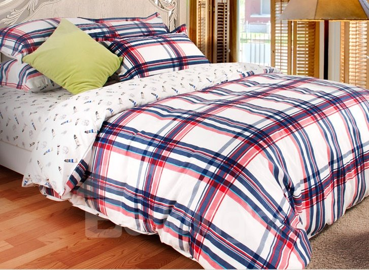 Plaid Pattern 3-Piece 100% Cotton Duvet Cover Sets