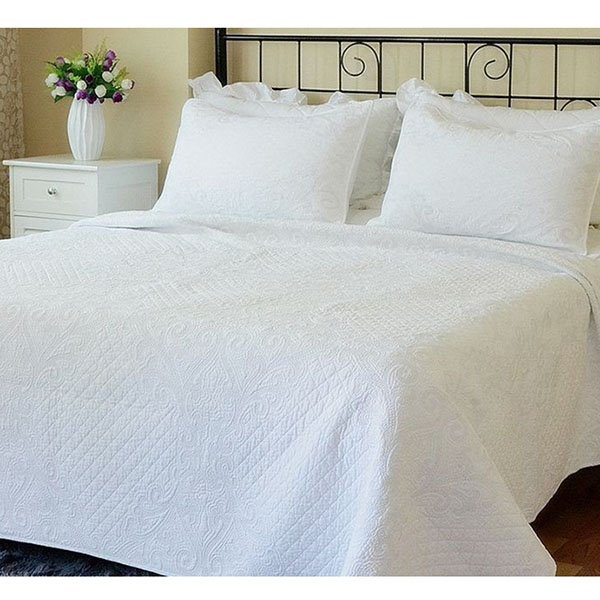 Simple Chenille Pure White Cotton Bed in a Bag Set