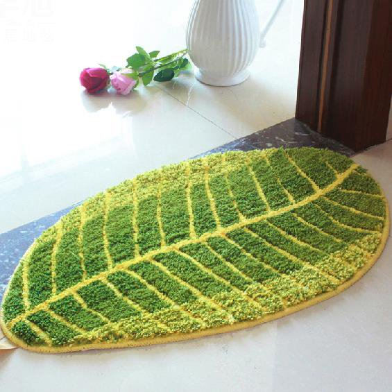 Top Quality Beautiful Water Absorbing Green Leaf Doormat