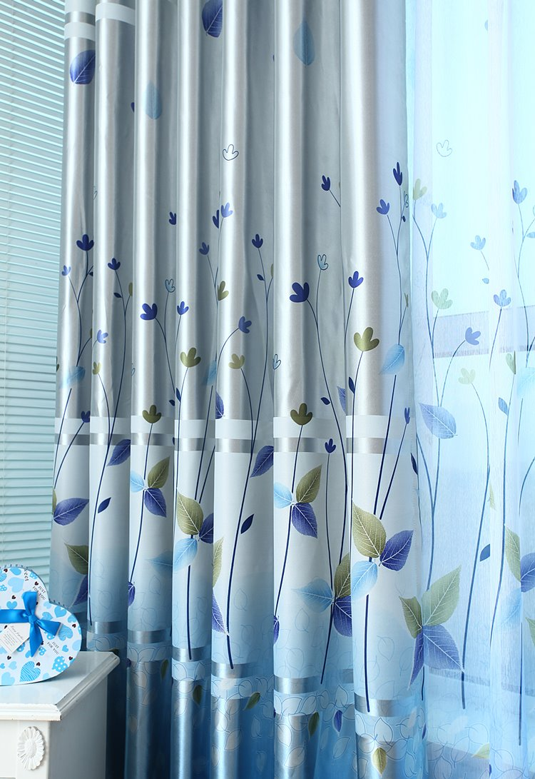 Decoration Fancy Blue Plant Printing Grommet Top Curtain